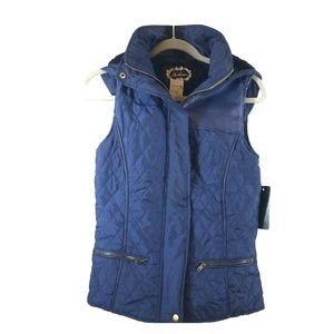 Jackets & Blazers - Blue quilted fur-lined vest